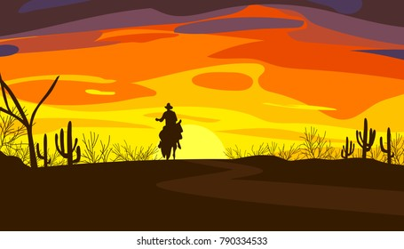 Wild west scene, silhouette background of sunset, illustration and design.