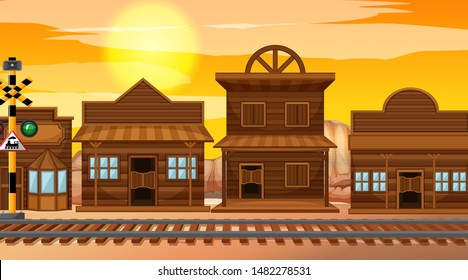 Wild west scene at sunset illustration
