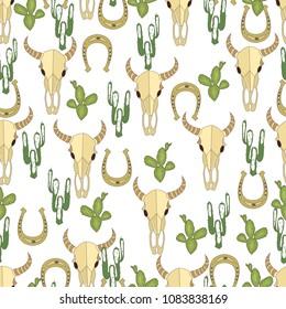 Wild west seamless background. Cactus, peyote, buffalo skull. Pattern.
