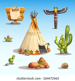 Wild west set with cactus, wigwam, shaman totem stones, flowers, rocks, sign wanted for video web game user interface