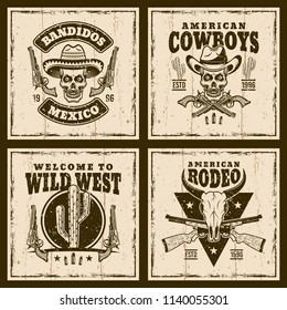 Wild west set of four vector brown emblems, labels, badges or t shirt prints on background with grunge textures