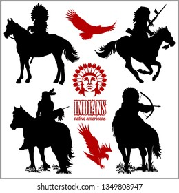 wild west silhouettes - native american warriors riding horses. Vector illustration isolated on white.