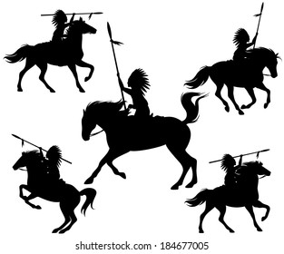 wild west silhouettes - native american warriors riding horses