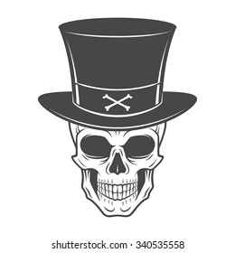 Wild west skull with hat. Smiling rover logo template. Wanted die or alive portrait. High way man t-shirt design.