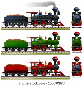 Wild West steam locomotive. Pixel optimized. Elements are in the separate layers. In the side and back views. The appropriate cars are also available ( Image ID: 158890838 )