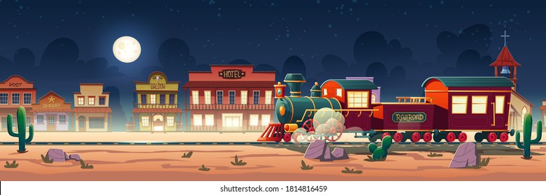 Wild west steam train at night western town with railroad, vintage locomotive, desert landscape, cacti and old wooden city buildings hotel, post, saloon, sheriff and church cartoon vector illustration
