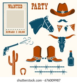 wild west stuff for cowboy party .Western cowboy objects for party holiday isolated for design
