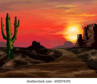 Wild west sunset landscape background vector