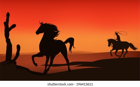Wild west sunset landscape - cowboy chasing a mustang horse