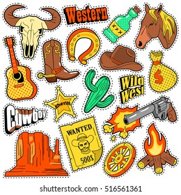 Wild West Texas Western Badges, Patches, Stickers with Cowboy, Horse, Gun and Sheriff. Vector Doodle