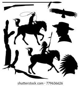 wild west theme black vector silhouette set - cowboy, native american chief, eagle and cactus design collection
