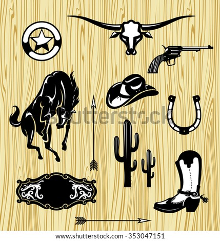 wild west themed objects set vintage cowboy stock vector royalty