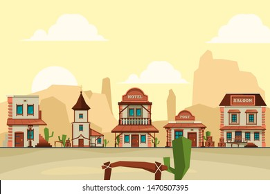 Wild west town. Old western architectural elements city background with saloon bar and store vector background illustrations. Wild west building, wooden american hotel and post