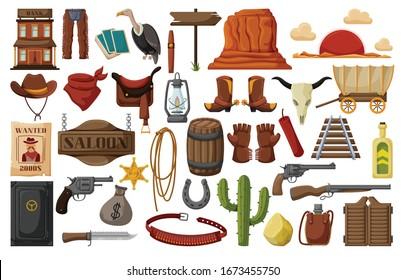 Wild west vector cartoon set icon. Vector illustration western on white background . Isolated cartoon set icon wild west.