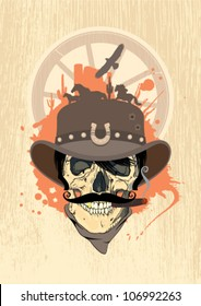 Wild west vector illustration with cowboy skull, vintage style