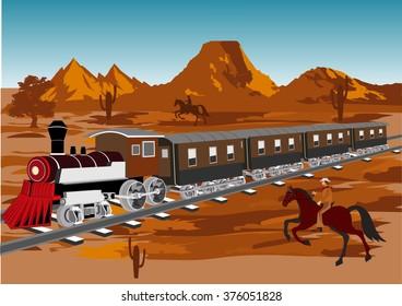 Wild west vector illustration. Train in prairie, cowboy on horse, blue sky