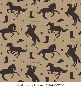 Wild west vector seamless pattern. Cowboy male background with silhouette of horses, horseshoe, sheriff badge, boot, hat.