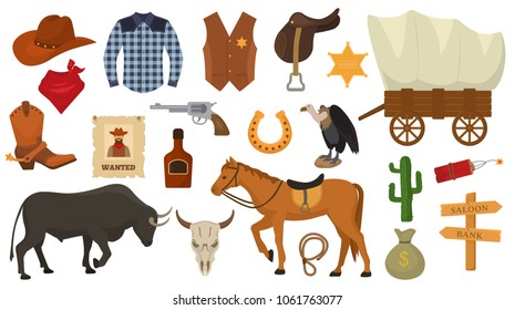 Wild west vector western cowboy or sheriff signs hat or horseshoe in wildlife desert with cactus illustration wildly horse character for rodeo set isolated on white background