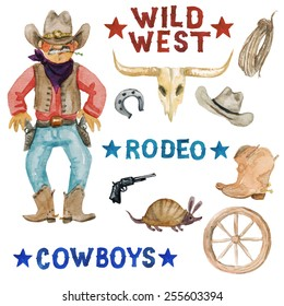 Wild West - vectorized watercolor clip art. More raster watercolors from this series are also available in portfolio.
