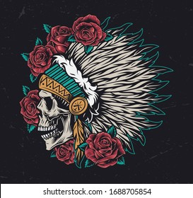 Wild west vintage colorful concept with roses and native american indian chief skull in feathers headwear isolated vector illustration