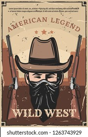 Wild West vintage poster of western bandit robber in face mask scarf with rifle carbines. American legend cowboy in Texas or Arizona dessert, vector retro poster