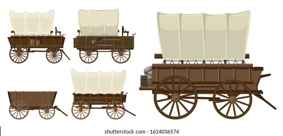 Wild west wagon isolated cartoon icon.Vector illustration set western of old carriage on white background .Vector cartoon set icon wild west wagon.