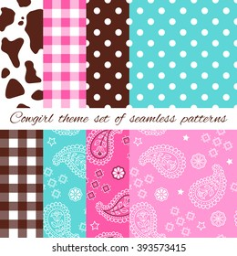 Wild West and Western Cowgirl sweet style design theme set of seamless patterns with cowhides and bandana
