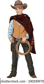 Wild west.  Young cowboy holding lasso