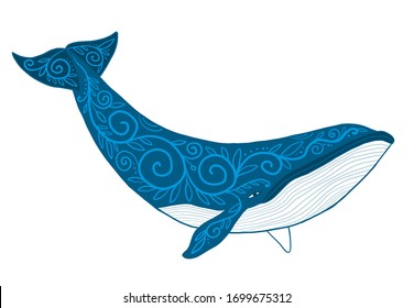 Wild Whale with Ethnic Ornaments. Vector illustration