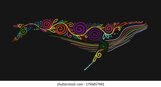Wild Whale with Floral Ornaments. Colorful Art Sketch for your design. Vector illustration