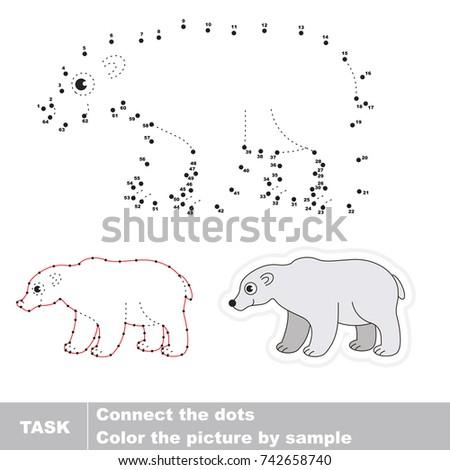 Wild White Bear Dot Dot Educational Stock Vector Royalty Free