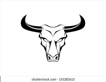 Wild White Bull with the Black Horn
