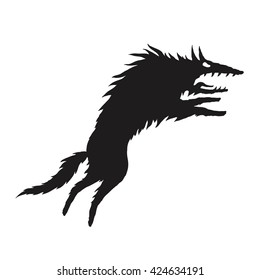 Wild wolf attacks silhouette. Vector isolated illustration. For tattoo, logo, print or card.
