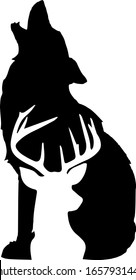 wild wolf, black and white silhouette