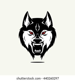 Wild wolf face. Vector Editable Illustration