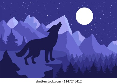 Wild Wolf Howling On The Hillside near forest and mountains. Outdoor nighr landscape and panorama with moon. Vector