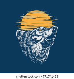 wild wolf howling vector
