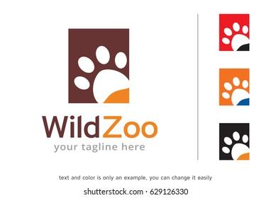 Wild Zoo Logo Template Design Vector, Emblem, Design Concept, Creative Symbol, Icon