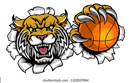 A wildcat angry animal sports mascot holding a basketball ball and breaking through the background with its claws