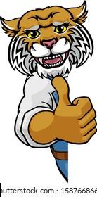 A wildcat animal construction cartoon mascot handyman or builder maintenance contractor peeking around a sign giving a thumbs up