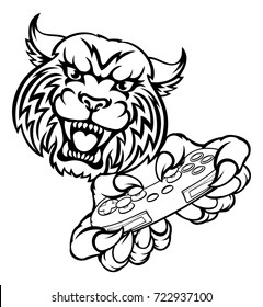 A wildcat or bobcat video game player online gamer animal mascot holding a controller