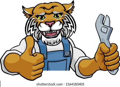 A wildcat cartoon animal mascot plumber, mechanic or handyman builder construction maintenance contractor peeking around a sign holding a spanner or wrench