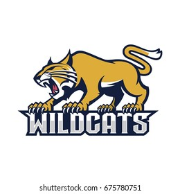 Wildcat character on top of the word Wildcats