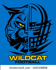 wildcat football team design with half mascot and facemask for school, college or league