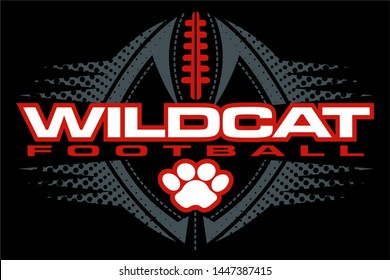 wildcat football team design with paw print and ball for school, college or league