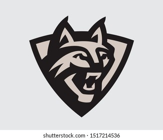 Wildcat head logo. Lynx emblem design editable for your business. Vector illustration.