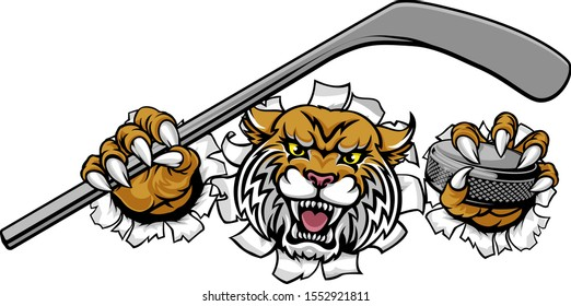 A wildcat ice hockey player animal sports mascot holding a hockey stick and puck