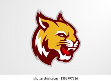 Wildcat Lynx Bobcat Cougar Big Cat Sports Team Mascot Logo Vector