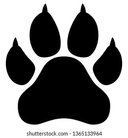 Wildcat paw print silhouette isolated vector illustration