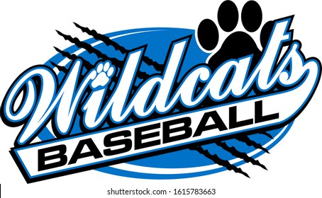 wildcats baseball team design in script with rips for school, college or league